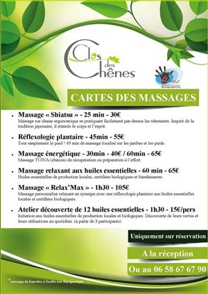 Carte des Massages
